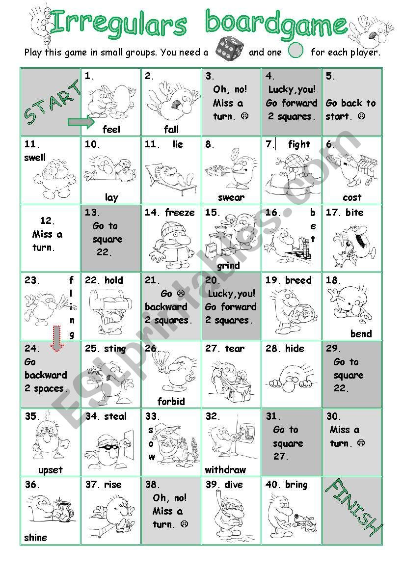 Irregulars Boardgame  Two worksheet