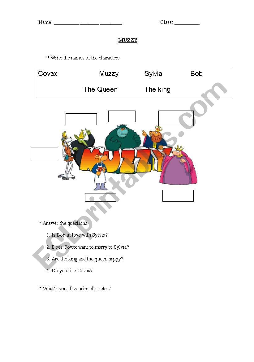 Muzzy Characters worksheet