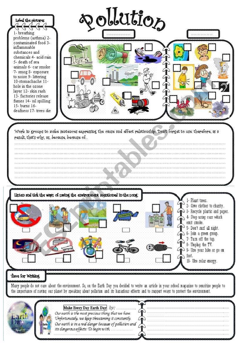 Worksheets Pollution Worksheets pollution esl worksheet by mayamin worksheet