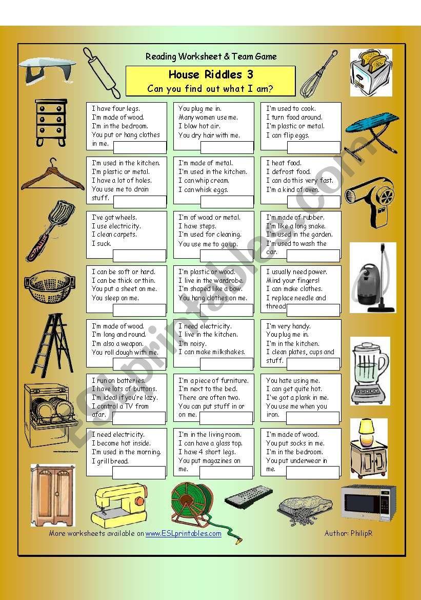 House Riddles 3 (Hard) worksheet