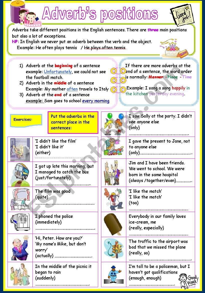 adverb´s positions worksheet