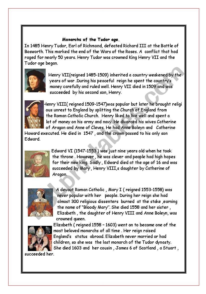 Monarchs Of The Tudor Age Esl Worksheet By Nessie33