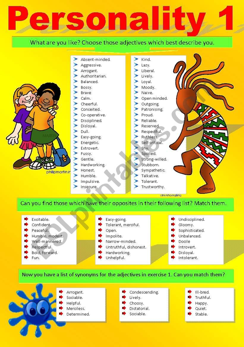 PERSONALITY (Part I) worksheet