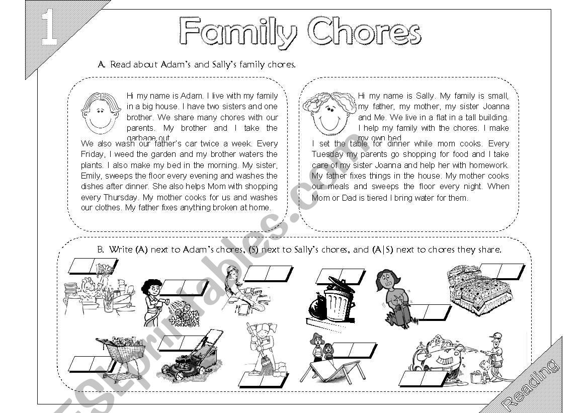Family Chores: Reading (2 pages + Key Answer)
