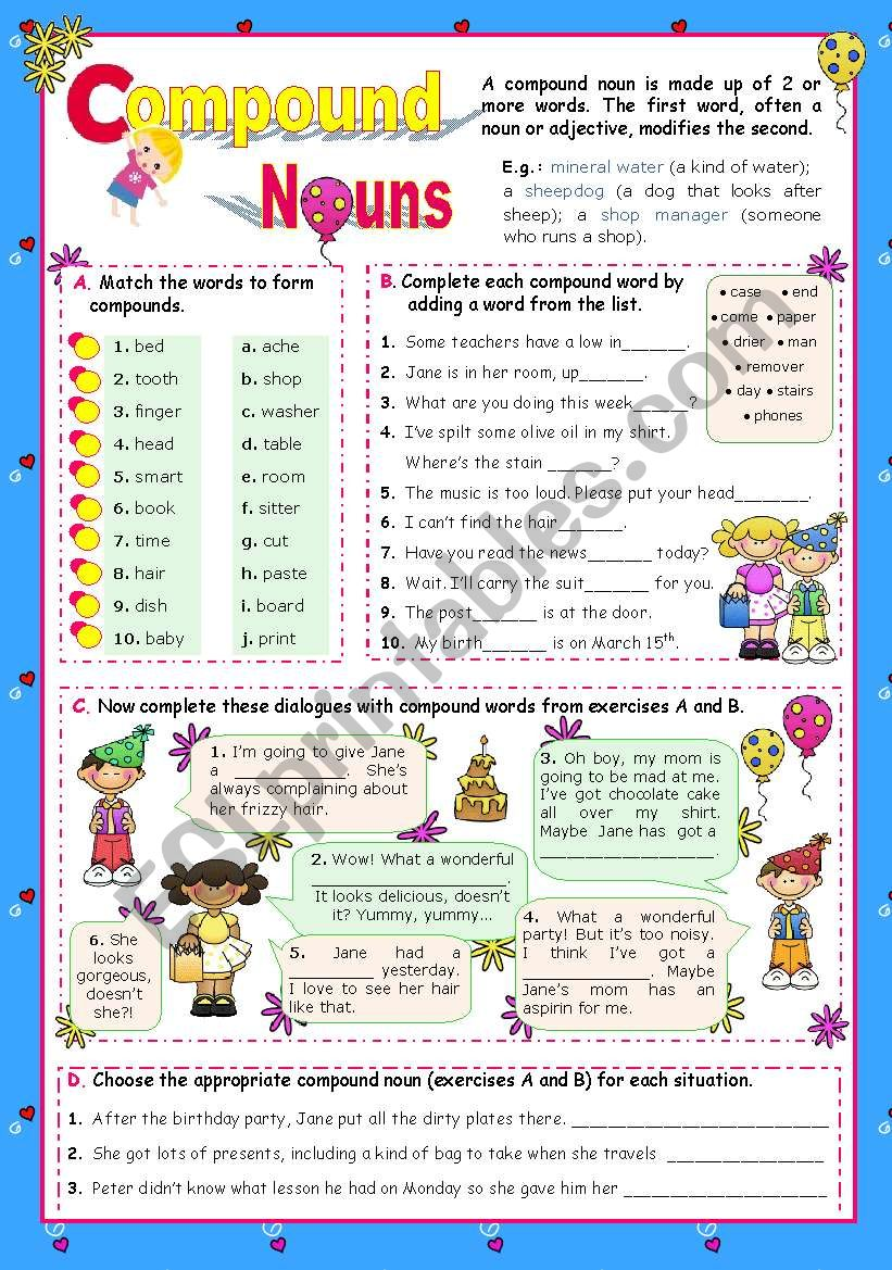 Basic Compound Nouns for Upper Elementary and Intermediate Stds.