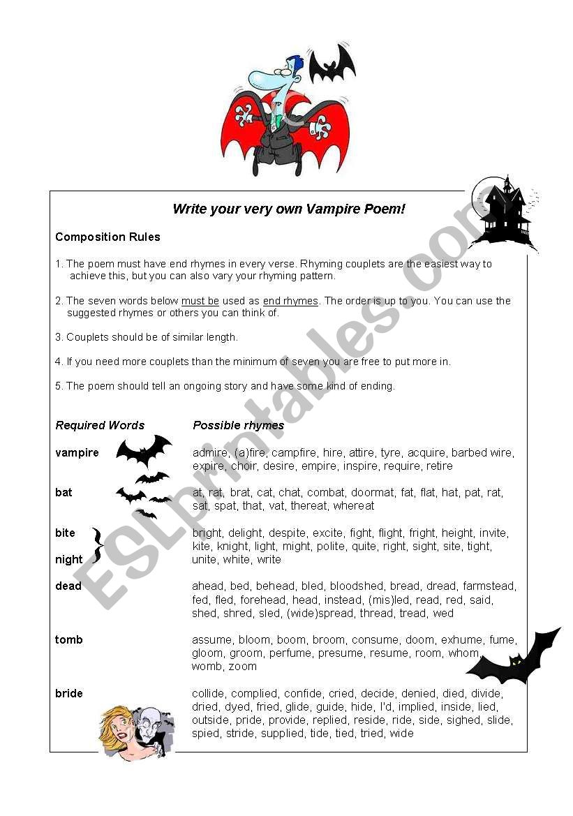 Guided Writing: Vampire poems!