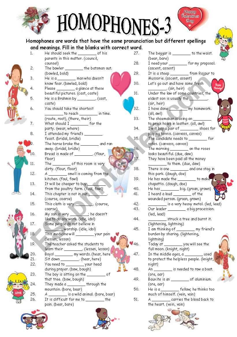 HOMOPHONES-3/3 (editable with answer key)