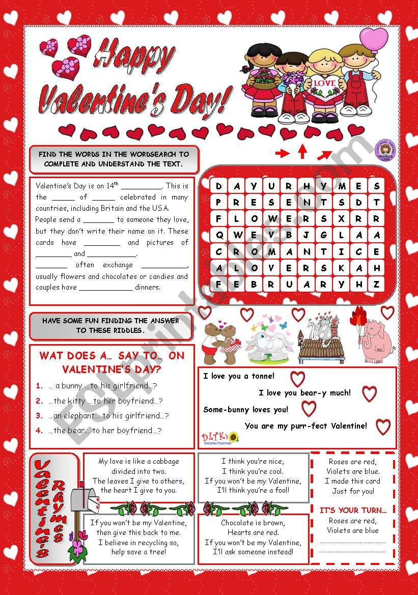 HAPPY VALENTINE´S DAY! worksheet