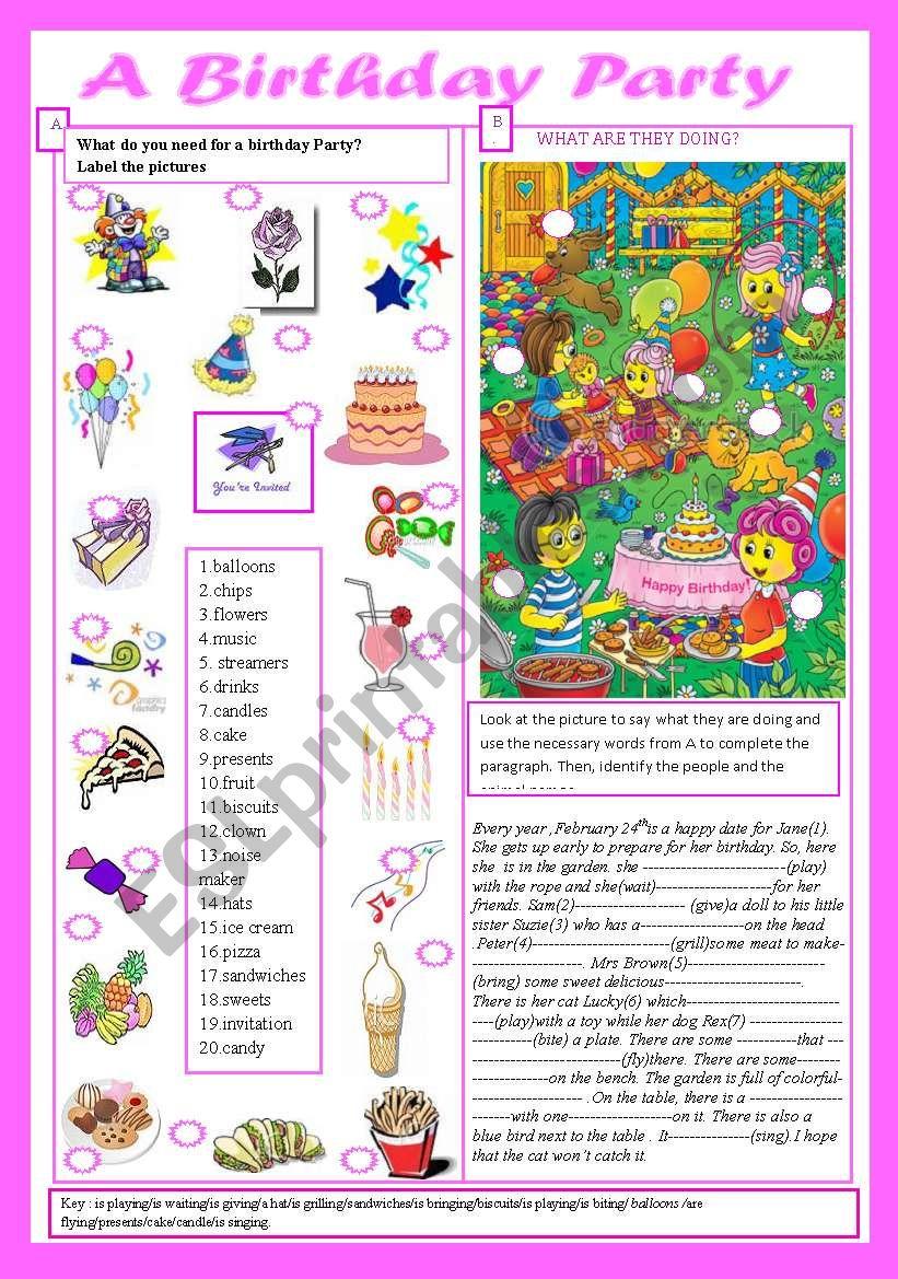 Birthday Party(+key) worksheet