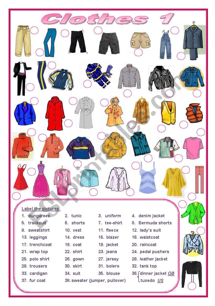 Clothes (editable) worksheet