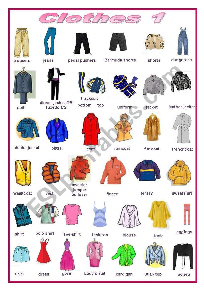 Clothes (editable) worksheet