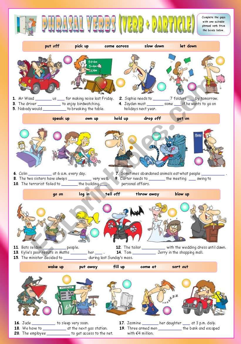 Phrasal Verbs (Seventh series). Exercises (Part 2/3). Key included!!!