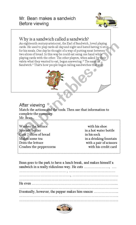 mr. Bean makes a sandwich worksheet