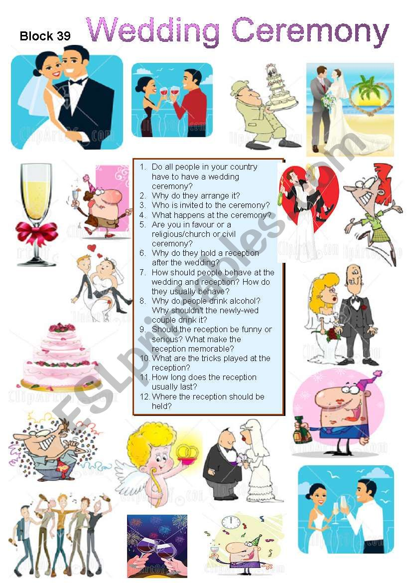 Wedding Ceremony worksheet