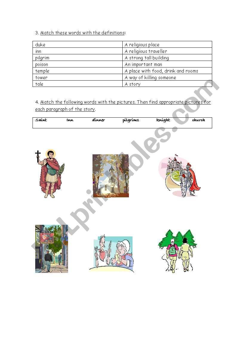 English worksheets: The Canterbury Tales