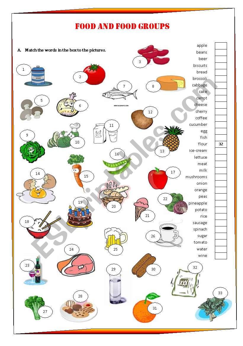 food and food groups esl worksheet by anapereira. Black Bedroom Furniture Sets. Home Design Ideas