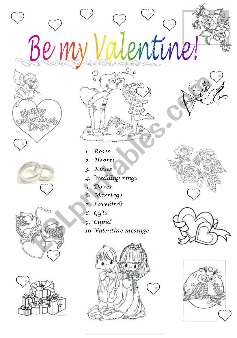 image regarding Valentine Puzzles Printable titled Be my Valentine - ESL worksheet by means of oprisorbrenda