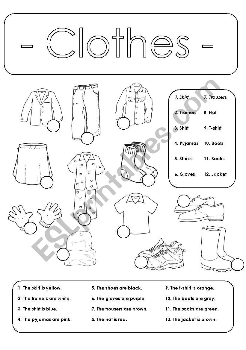 Number and colour the clothes worksheet