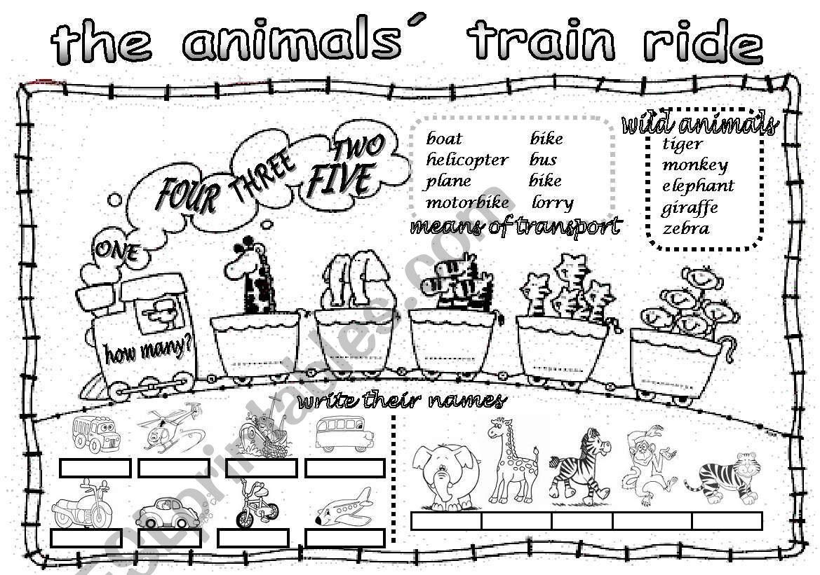 THE ANIMALS´ TRAIN RIDE worksheet