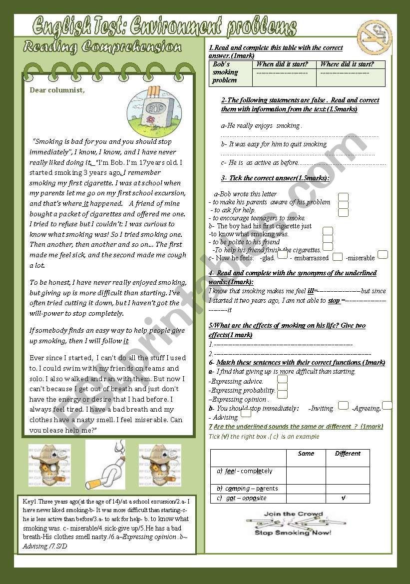 English Test:Environment Problems :Reading Comprehension +Language(9th form Mid Term Test)(+Key)
