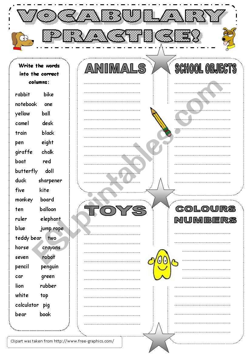 Vocabulary Practice worksheet