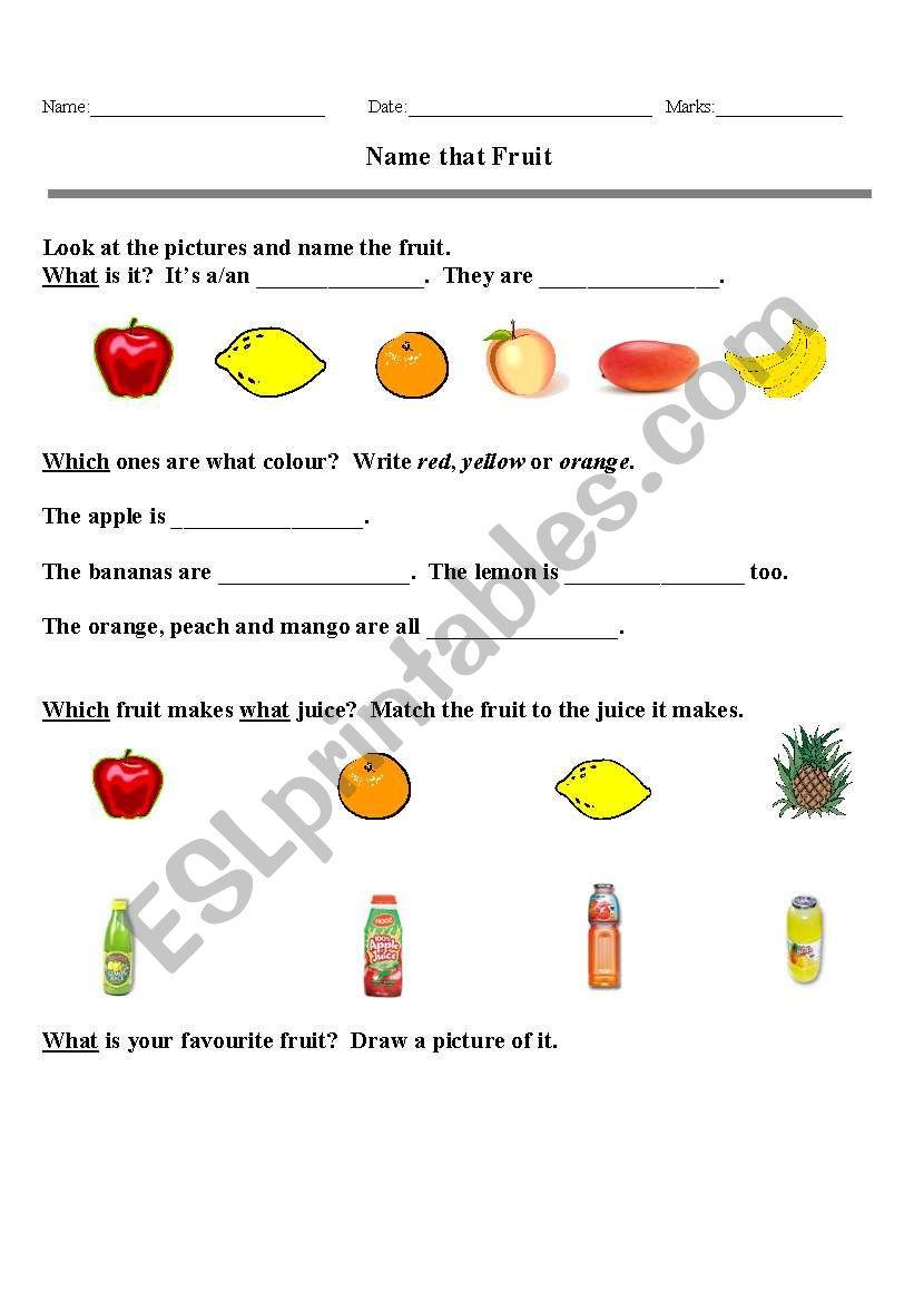 Name that Fruit worksheet