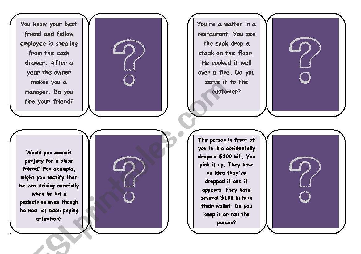 Moral Dilemmas Game Esl Worksheet By Eryn