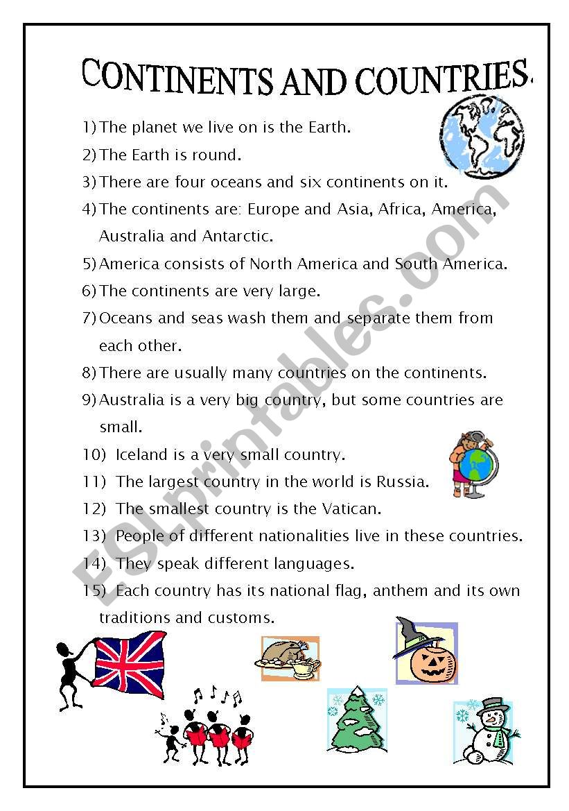 Continents and countries - ESL worksheet by Tiun