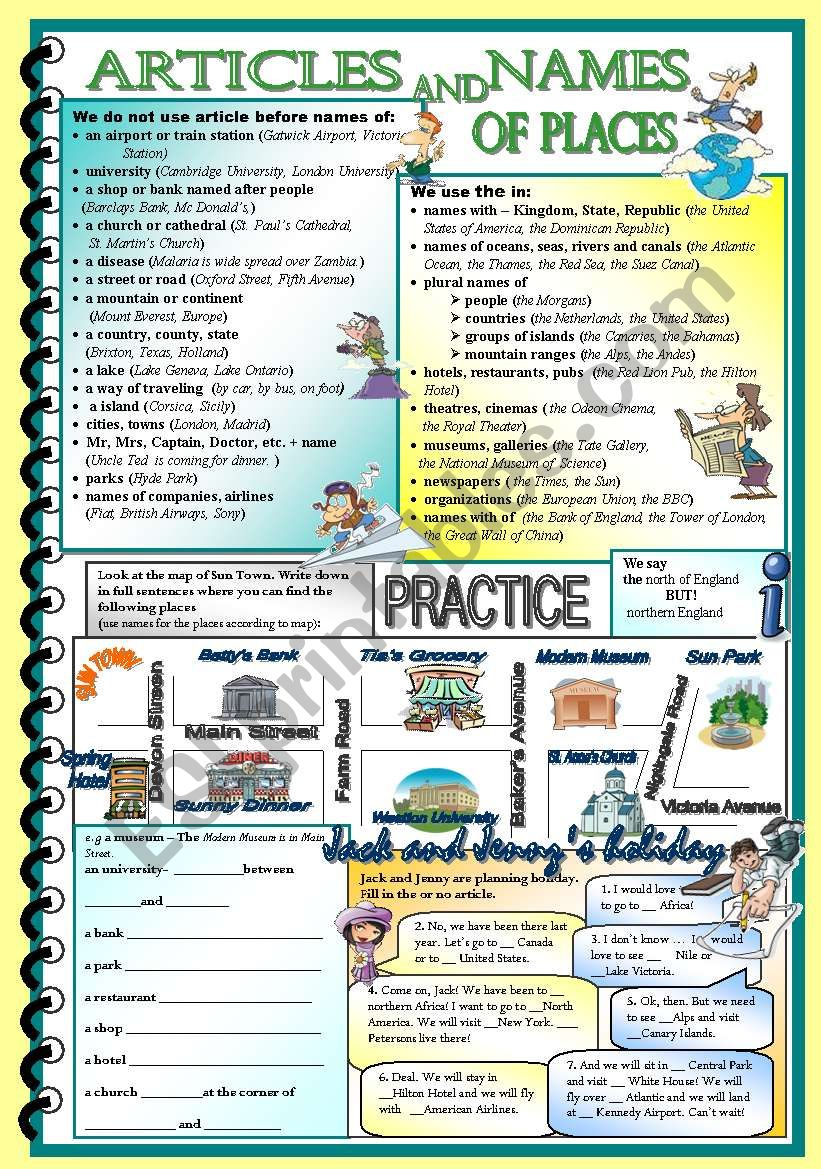 Articles and names of places worksheet