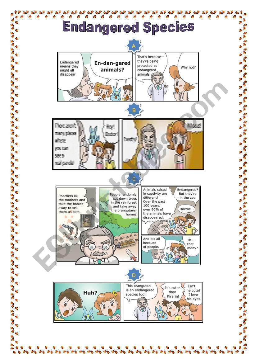 Engangered animals cartoons1 worksheet
