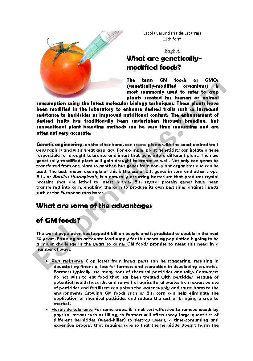 Genetically Modified Food (environmental matters) - ESL worksheet by elsa  machado
