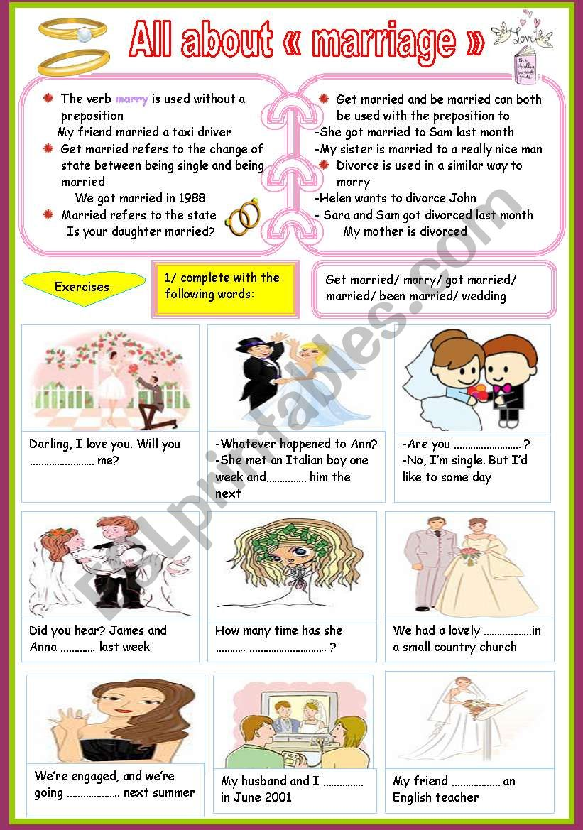 all about marriage worksheet