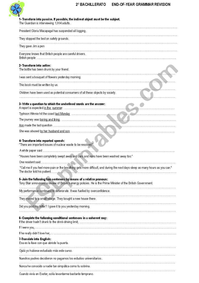 NICE END OF YEAR GRAMMAR REVISION  --2ºBACHILLERATO -- KEY INCLUDED