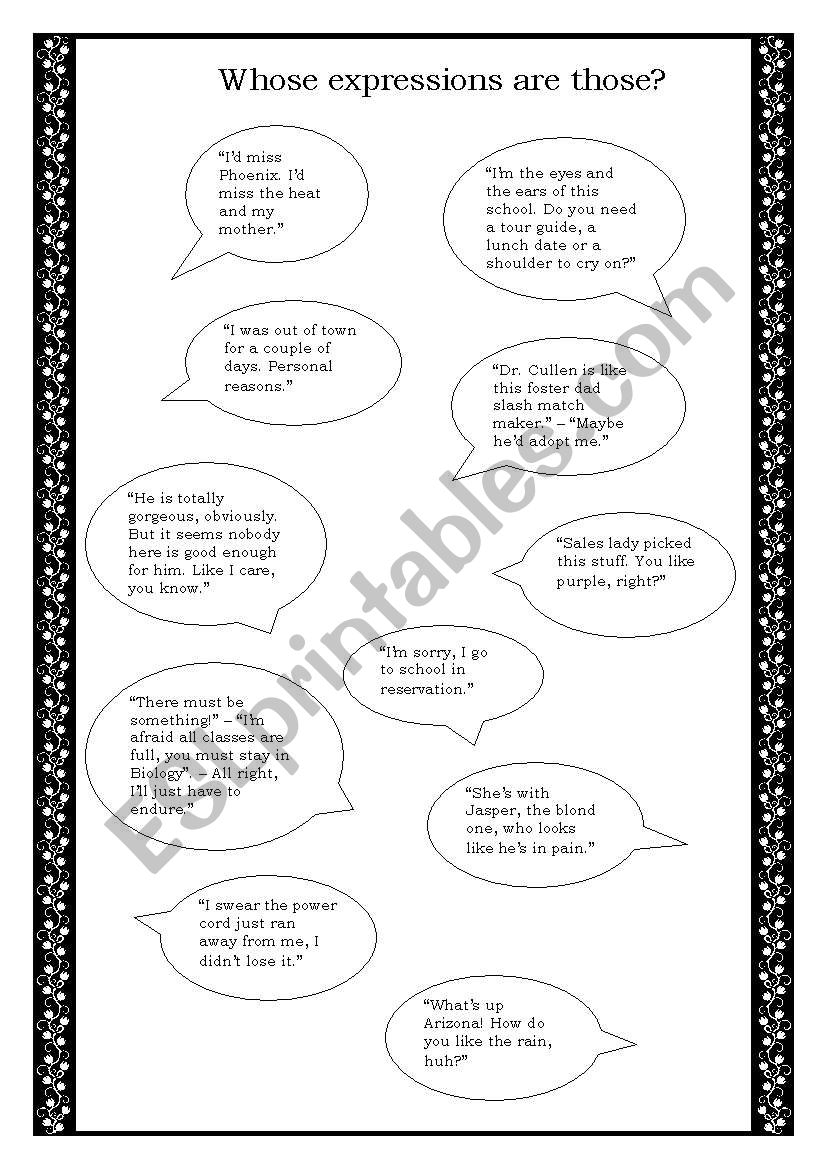 Twilight Quotes Esl Worksheet By Summer