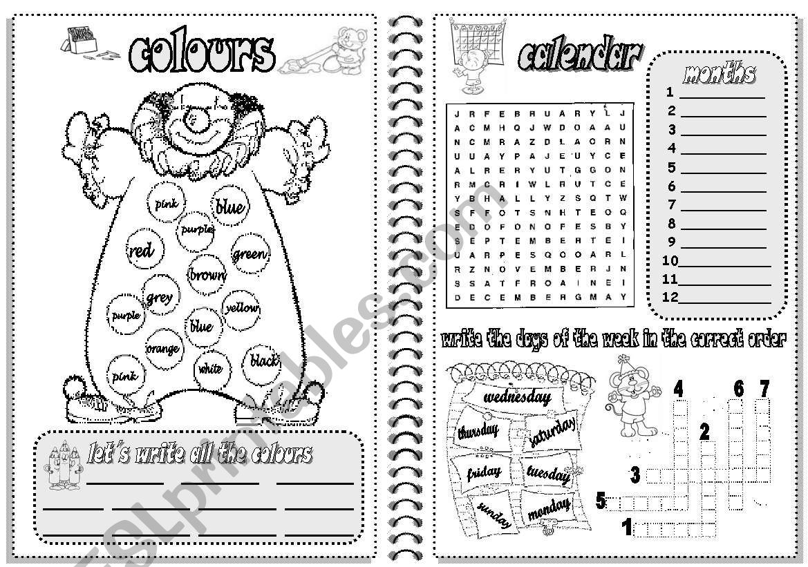 COLOURS AND CALENDAR worksheet