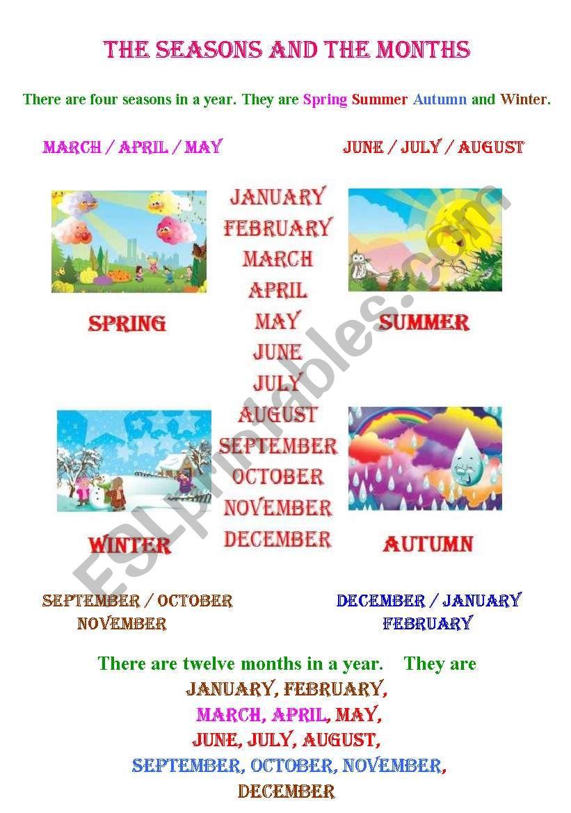 SEASONS AND MONTHS ( RE )  worksheet