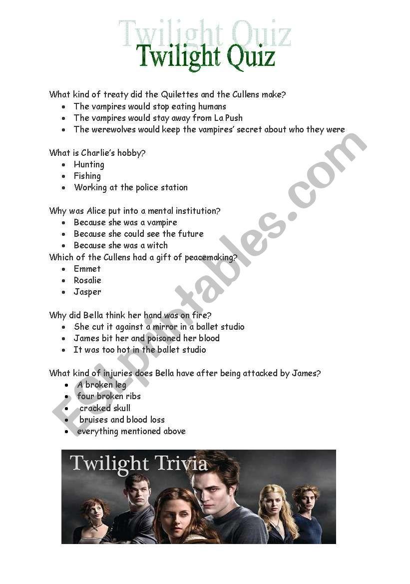 Twilight trivia, quiz worksheet