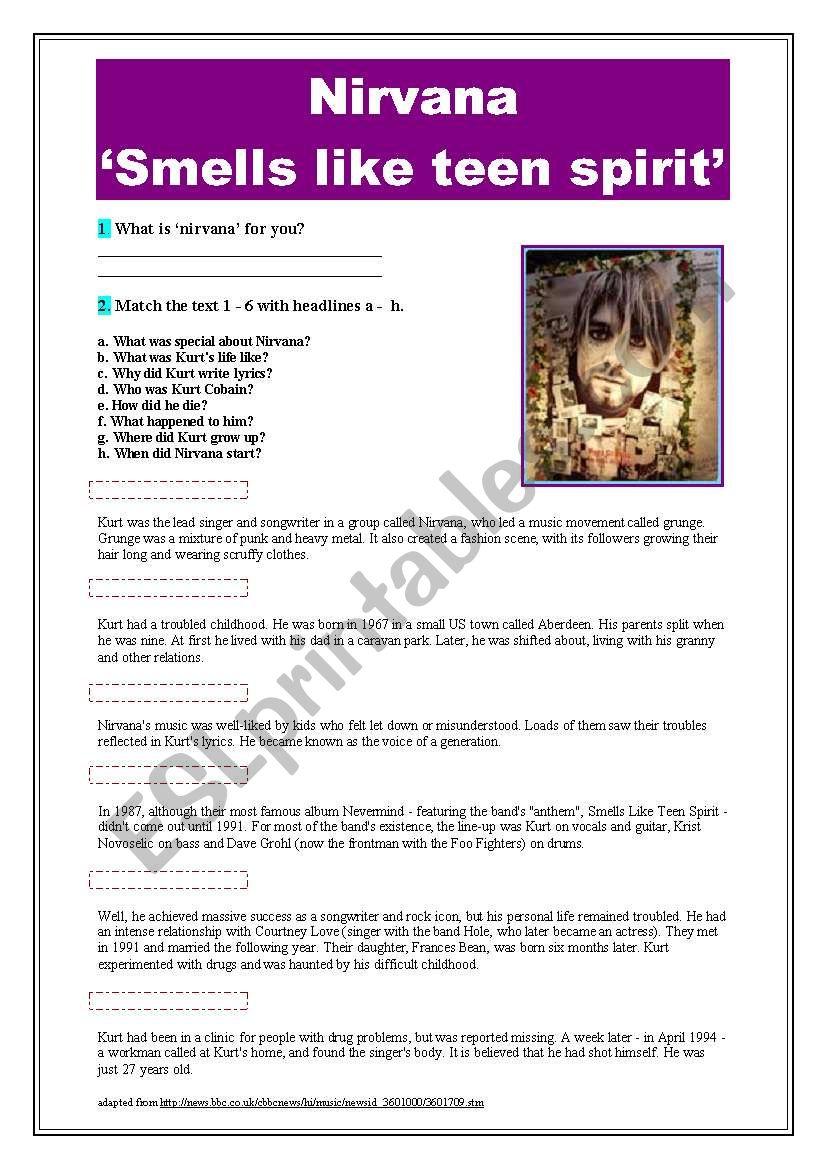 Nirvana ´smells like teen spirit´ - ESL worksheet by pawag