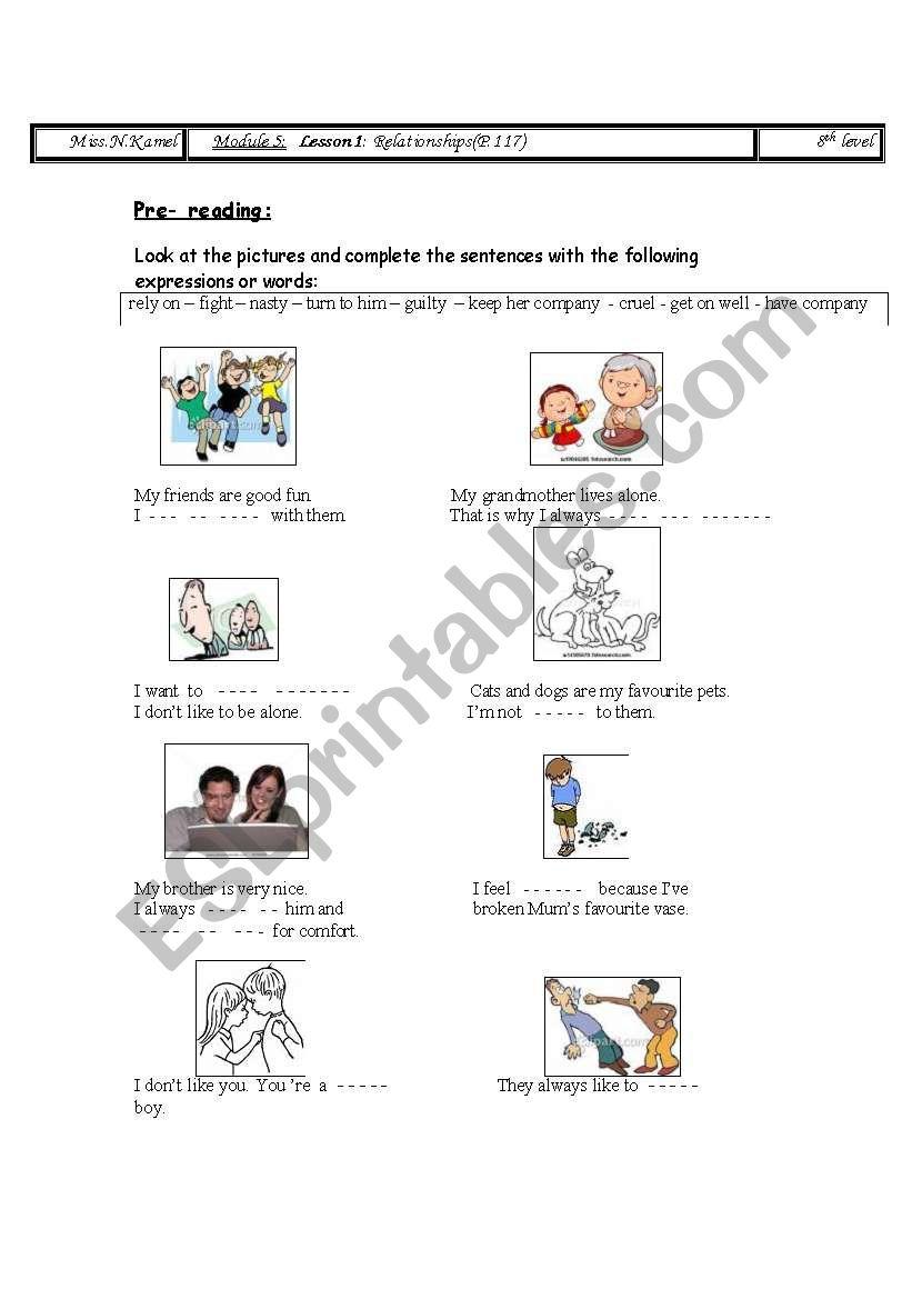 relationship: 8th form worksheet