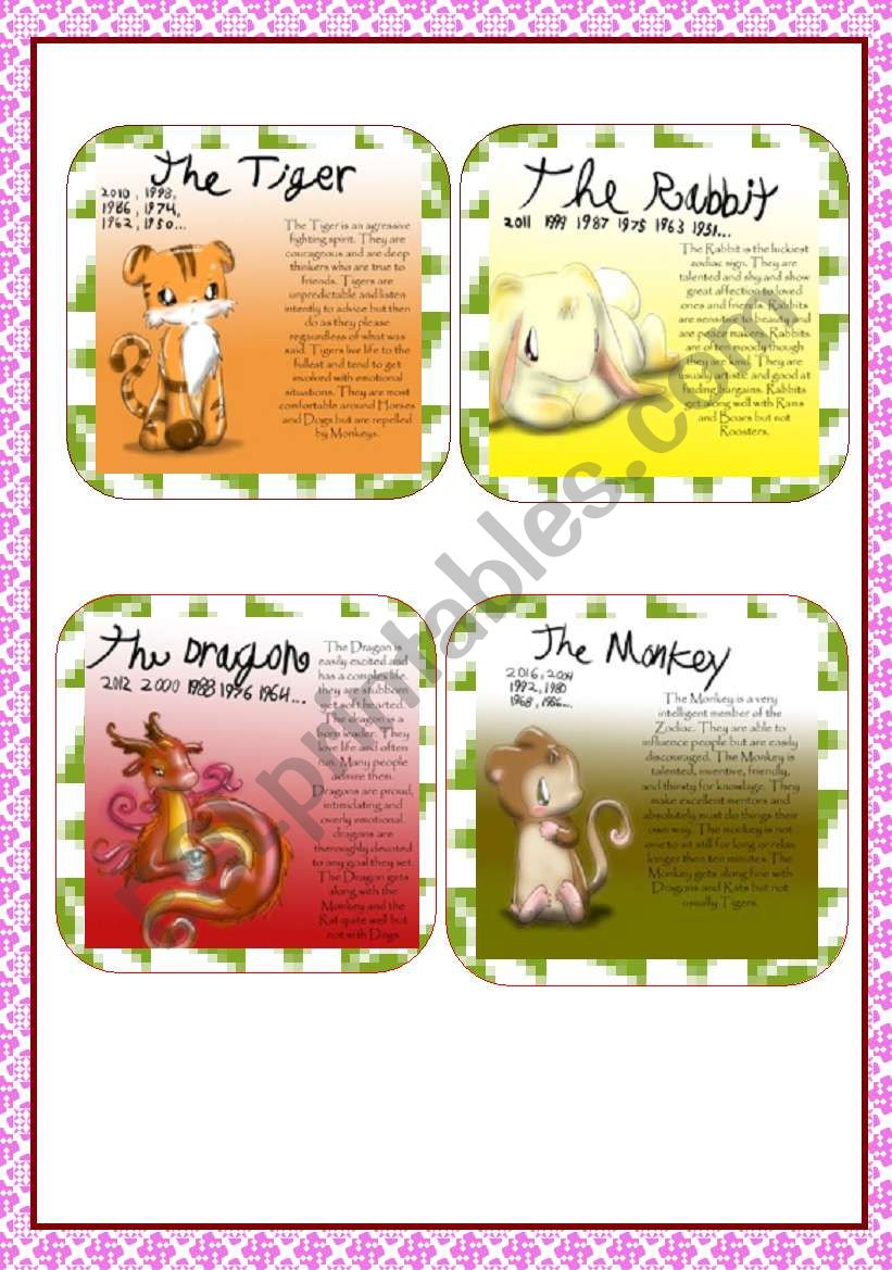 12 Chinese New Year Zodiac Cards