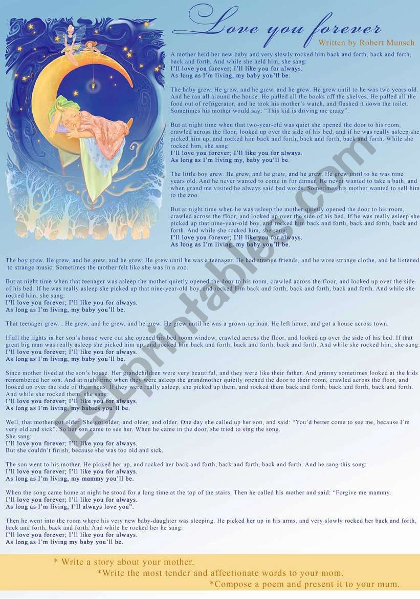Love you forever - ESL worksheet by manyasha-ru