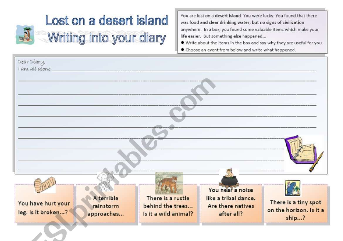 Lost on a desert island 3/3: Writing activity