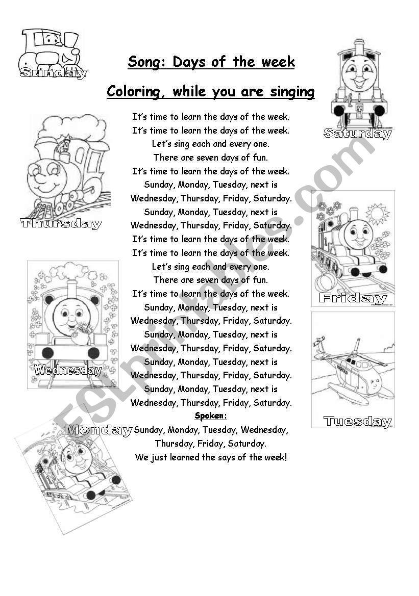 Days of the week song worksheet