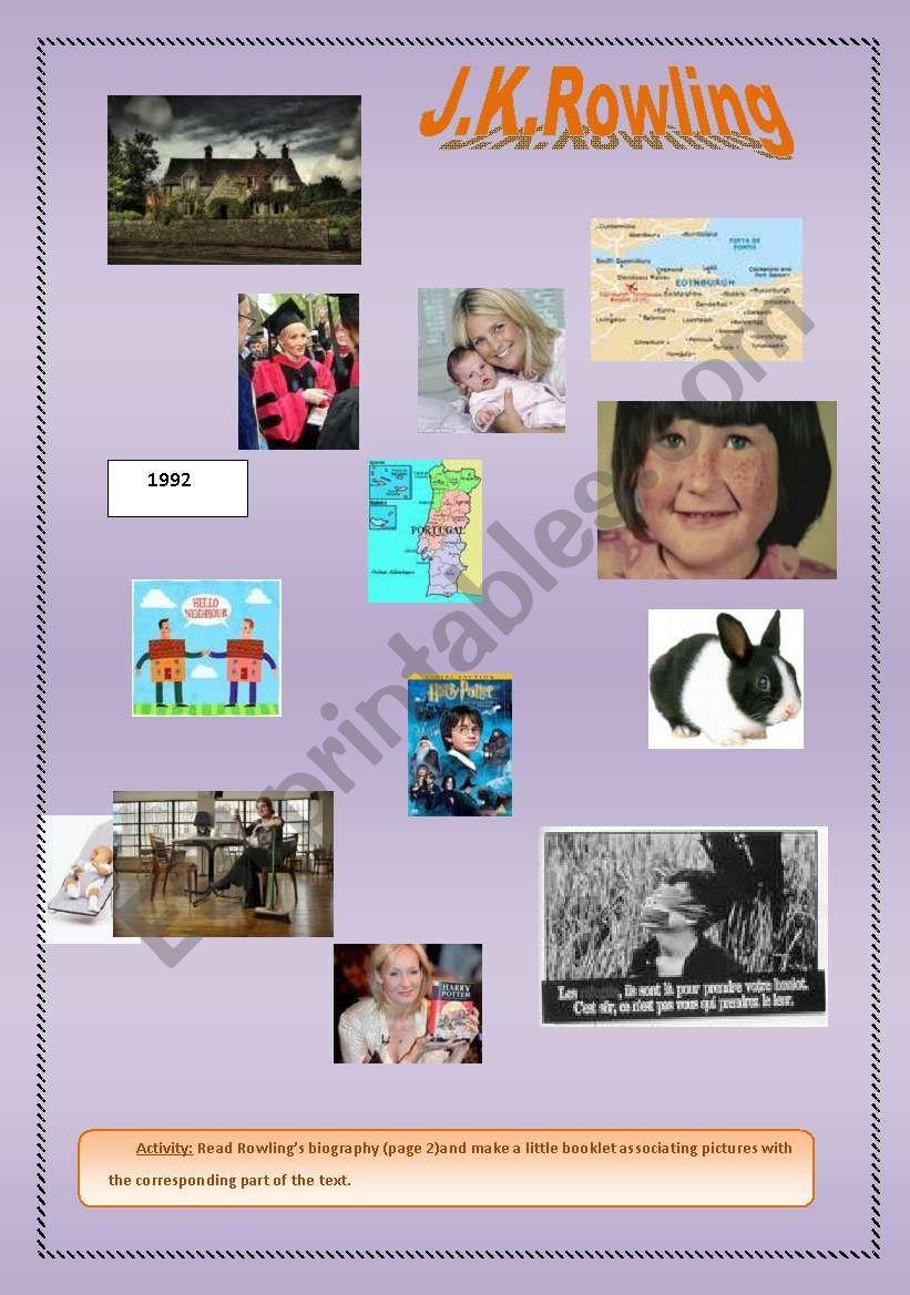 JK Rowling: a biography  worksheet