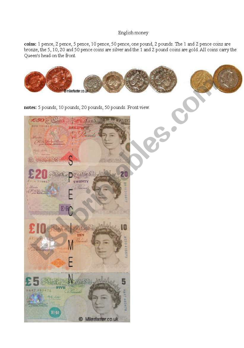 English coins and notes worksheet