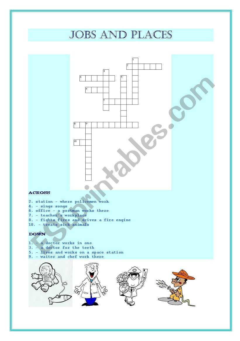 Jobs and places of work crossword