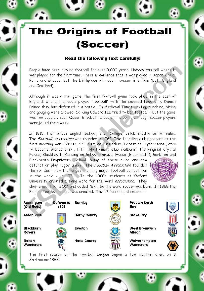 The Origins of Football (Soccer) - 2 pages + key
