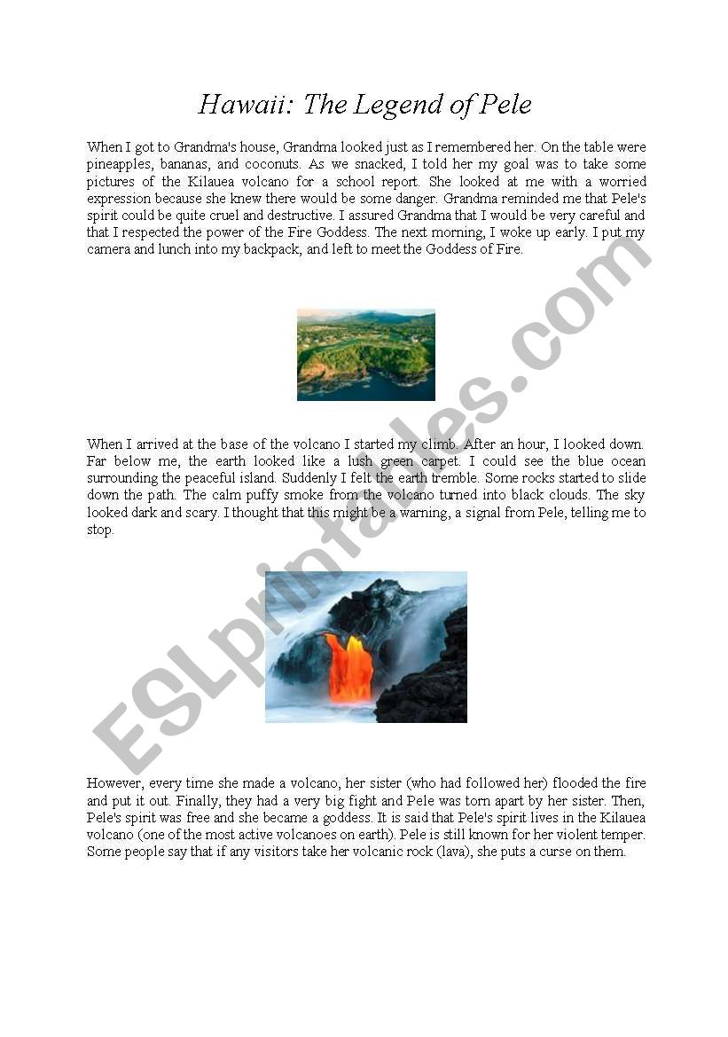 English worksheets: Hawaii: The legend of Pele