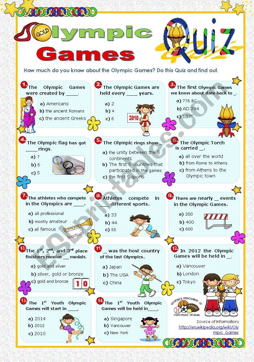 Olympic Games Quiz worksheet