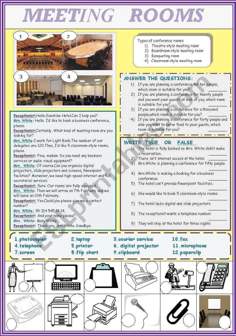 MEETING ROOMS worksheet